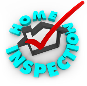 A red check mark in a house box surrounded by the words Home Inspection